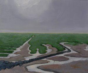Het Wad, olieverf op paneel, 62x74 cm