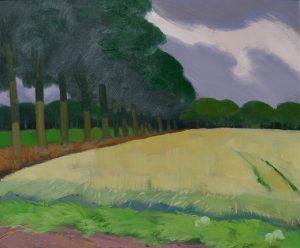 Graan bij Beilen, idem olieverf op paneel, 62x74 cm