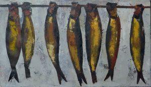 19. Bokkingen, Olieverf op linnen, 50x85 cm